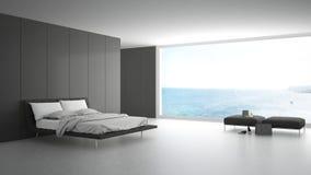 有大窗口的最低纲领派卧室在海全景 免版税库存图片
