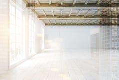 有大窗口的空的室,侧视图双 皇族释放例证