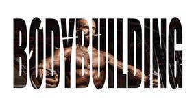 有大肌肉的英俊的人解决在健身房的 做锻炼的肌肉爱好健美者 刺激标志 库存图片