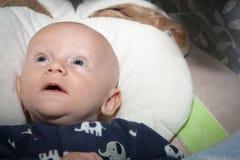 有大蓝眼睛的可爱的婴孩 库存图片