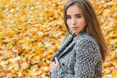 有大蓝眼睛的美丽的迷人的年轻可爱的女孩,与长的黑发在外套的秋天森林里 库存图片