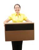 有大配件箱的妇女 图库摄影