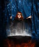 有大锅的巫婆在夜森林 图库摄影