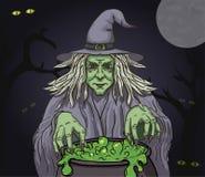 有大锅的邪恶的动画片巫婆 传染媒介剪贴美术例证 向量例证