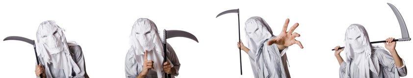 有大镰刀的妖怪在万圣节概念 免版税库存图片