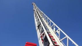 有大防火梯楼梯的消防车 影视素材