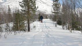 有大黑暗的背包的滑雪者沿狭窄的道路移动 股票录像