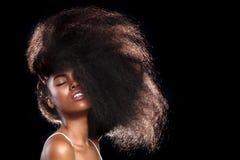 有大头发的非裔美国人的黑人妇女 免版税库存照片