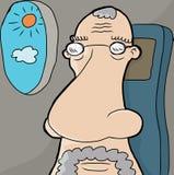 在飞机上的老人 向量例证