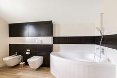 有大浴缸的时髦的卫生间 免版税库存照片