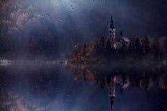 有天主教的看法海岛在流血的湖 Bled是一个Th 图库摄影