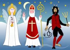 有天使的圣徒尼古拉斯和恶魔在有星和月亮的夜乡下 免版税图库摄影