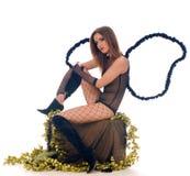 有天使翼的美丽的新性感的女孩 免版税库存图片
