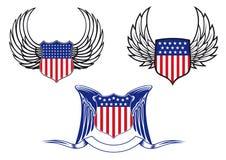 有天使翼的美国盾 图库摄影