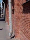 有天沟的砖墙 库存图片