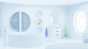 有天窗的现代白色卫生间 免版税库存图片