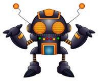 有天线和橙色眼睛的动画片恼怒的机器人 库存照片