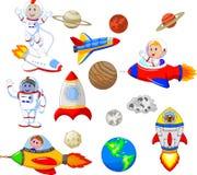 有太空飞船汇集集合的动画片宇航员 向量例证