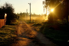 有太阳光的乡下路 免版税图库摄影