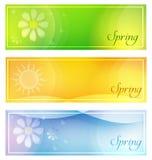 有太阳和花横幅的春天 免版税库存照片
