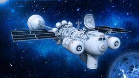 有太阳电池板的太空飞船在宇宙的外层空间,飞碟航天器飞行与行星和星,正面图,3D回报 皇族释放例证