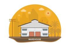 有太阳电池板的仓库在屋顶,传染媒介例证 库存照片