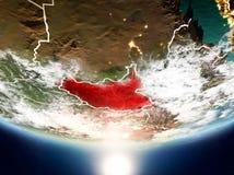 有太阳的南苏丹行星地球上 免版税库存图片