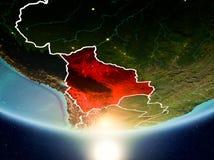 有太阳的玻利维亚行星地球上 库存照片