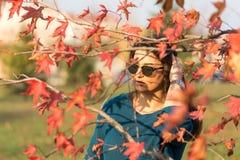 有太阳镜的年轻美丽的十几岁的女孩在秋天红色后在树离开 库存图片