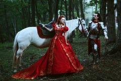 有夫人的中世纪骑士 免版税库存照片