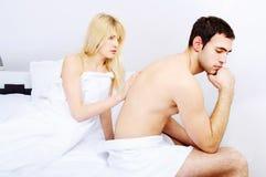 有夫妇女性的重点问题 免版税库存图片