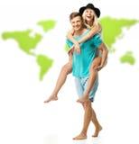 有夫妇的乐趣年轻人 免版税图库摄影
