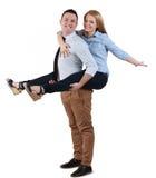 有夫妇的乐趣年轻人 免版税库存图片