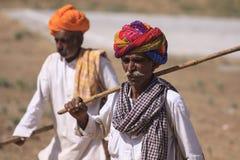 有头巾的老Rajasthani人 节日普斯赫卡尔 免版税库存图片