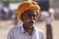 有头巾的老Rajasthani人 库存图片