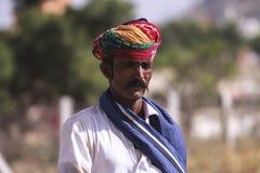 有头巾的老Rajasthani人 免版税图库摄影