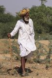 有头巾的老Rajasthani人 库存照片