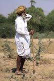 有头巾的老Rajasthani人 免版税库存照片