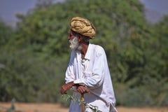 有头巾的老Rajasthani人 免版税库存图片