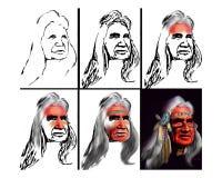 有头饰的当地美洲印第安人院长 库存照片