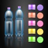 有套的传染媒介空的塑料水饮料瓶多彩多姿的盖帽 库存例证
