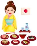 有套的日本女孩日本食物 免版税库存照片
