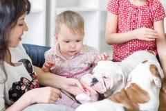 有女儿和小狗英国牛头犬的一个年轻母亲 免版税库存照片