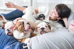 有女儿和小狗英国牛头犬的一个年轻母亲 库存照片
