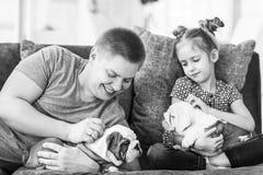 有女儿和小狗英国牛头犬的有同情心的爸爸 免版税图库摄影