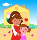 有女儿的动画片孕妇 免版税库存图片