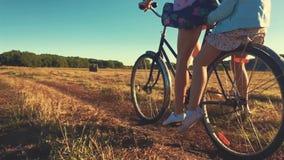 有女儿的母亲自行车的在草甸 在自行车的家庭本质上 家庭的概念 股票视频