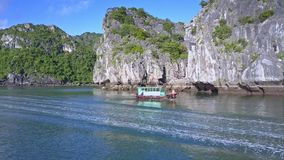 有女孩人风帆的小船在前景的海湾泡沫似的船踪影 影视素材