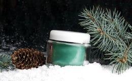 有奶油的玻璃化妆容器在雪 免版税库存照片