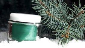有奶油的玻璃化妆容器在雪 免版税库存图片